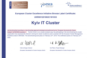 Отримання бронзового лейблу European Secretariat for Cluster Analysis